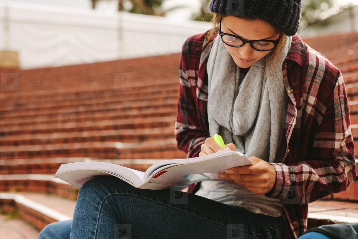 University student studying at campus
