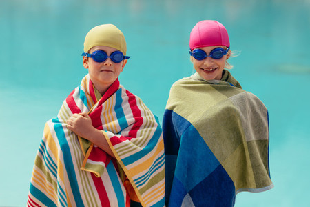 Kids after swimming lessons