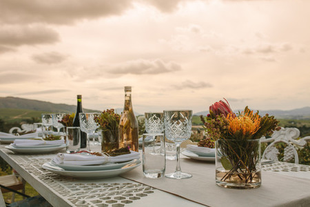 Dinner table set outdoors