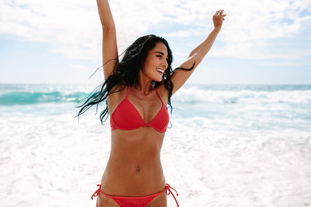 Woman having a great time at beach