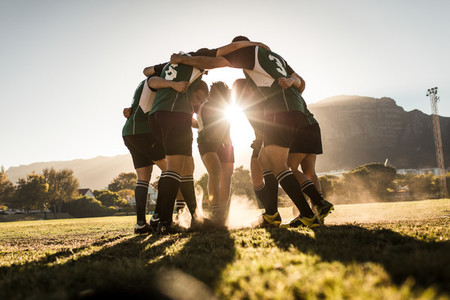 Rugby players rejoicing victory