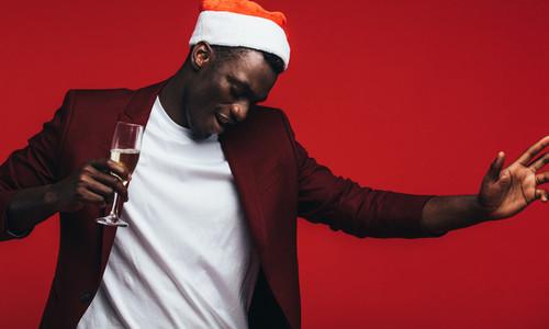 Man at Christmas party