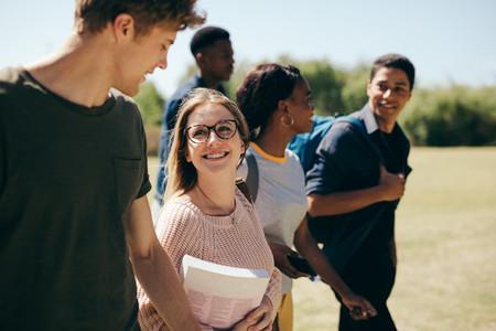 Multi ethnic college students at campus