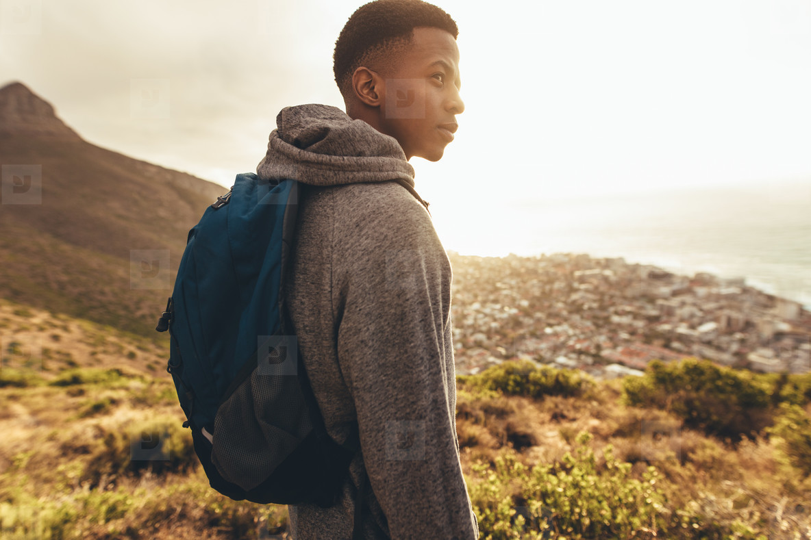 Young guy on hiking trip