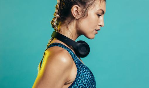 Sportswoman in studio