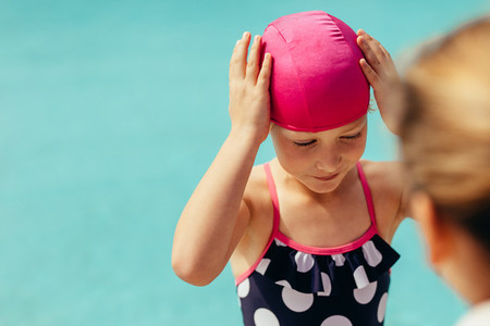 Girl getting ready for swimming