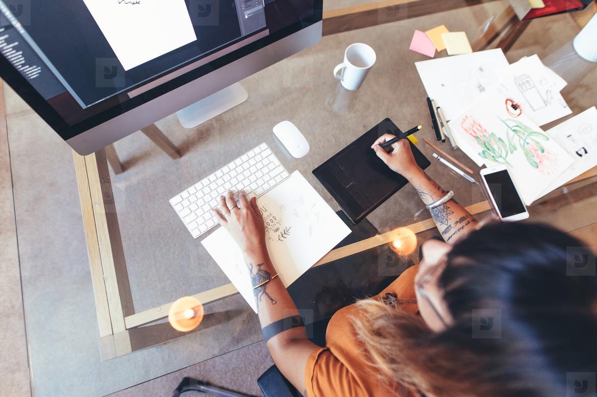 Female creative artist at work