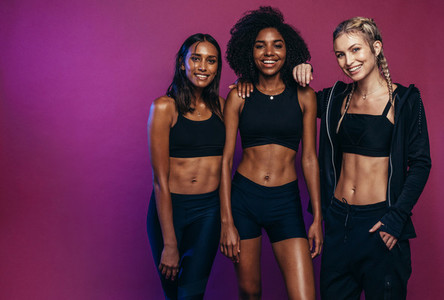 Diverse group females in sportswear