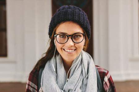 Beautiful female student at college campus