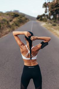 Female athlete before a run