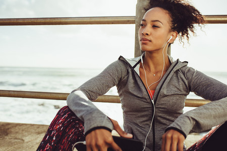 Runner relaxing after her workout