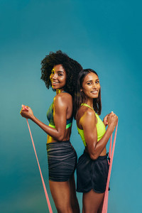 Women working out with resistance bands