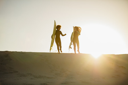 Female surfers at the beach