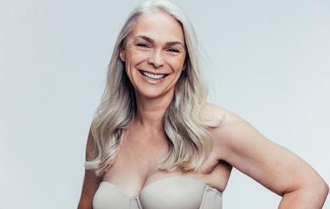 Attractive senior female model in lingerie