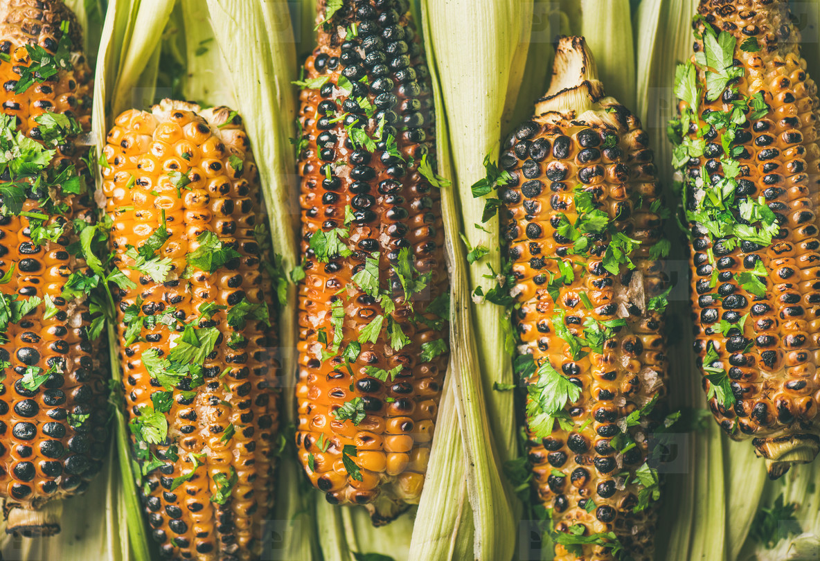 Flat lay of grilled sweet corn with spices  close up
