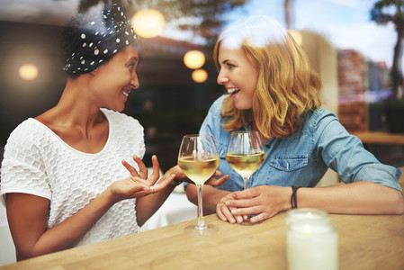 Two attractive women enjoying a glass of wine