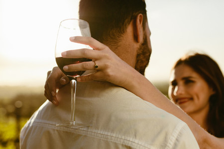 Couple in love on a wine date