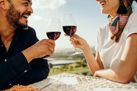 Smiling couple on a wine date