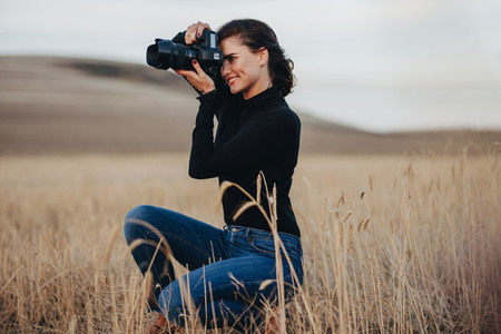 Photographer on outdoors shoot