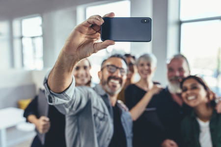 Business group selfie