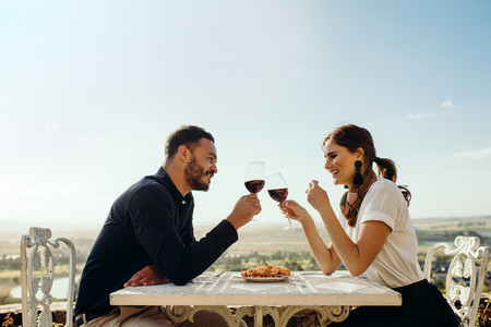 Couple on a romantic wine date