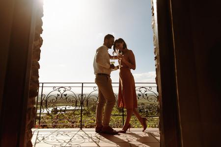 Romantic couple on a wine date
