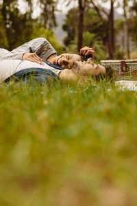 Couple relaxing on a picnic