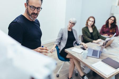 Entrepreneur doing presentation in meeting room