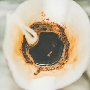 Top view of coffee brewed in Chemex  close up