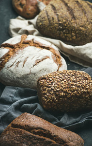 Close up of Rye  wheat and multigrain rustic bread loaves
