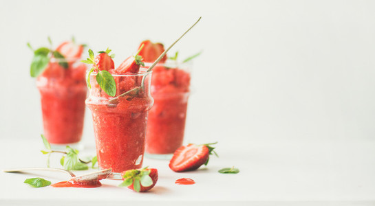Strawberry  champaigne summer granita in glasses  wide composition