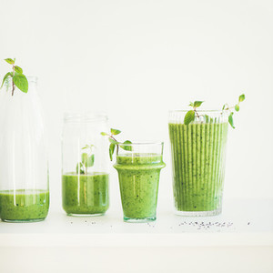 Matcha green smoothie with chia seeds  copy space  square crop