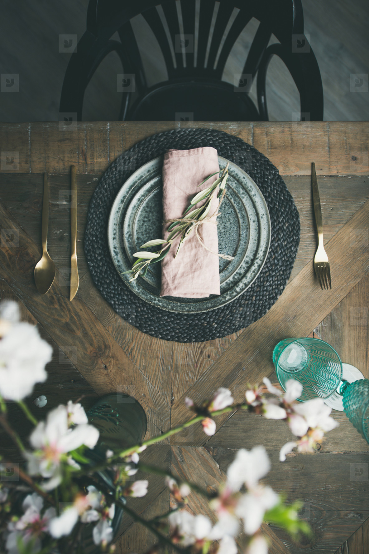 Flat lay of Spring Easter Table setting with flowers