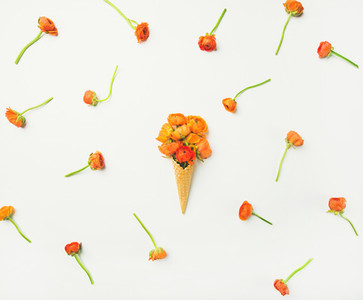 Waffle cone with orange buttercup flowers over white background  flat lay