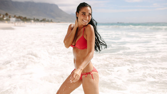 Woman enjoying holidays at the beach
