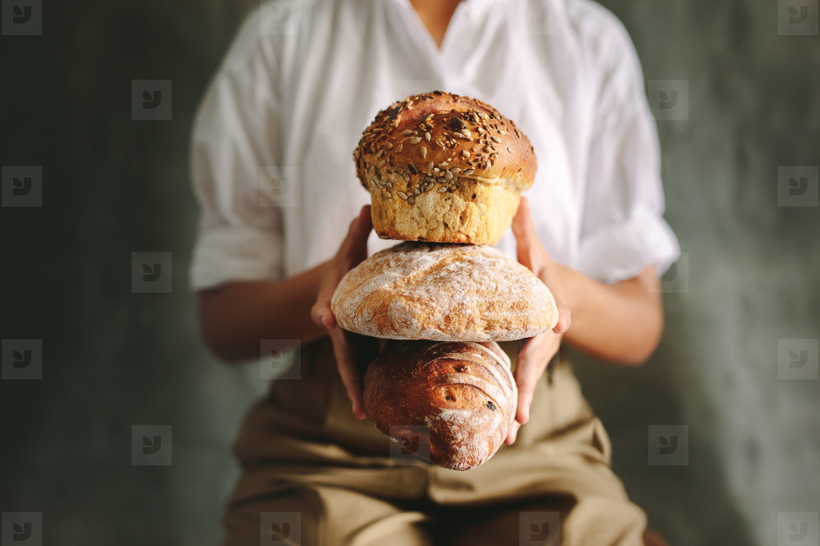 Various type of loaf bread