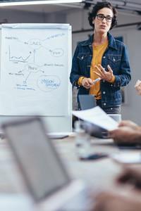 Businesswoman sharing her views in presentation
