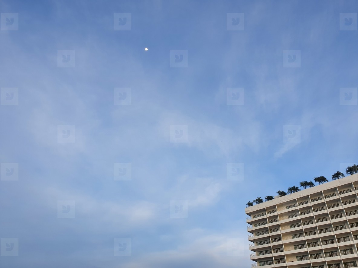 Building  sky and  little moon
