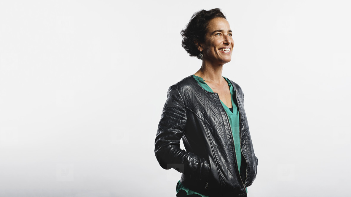 Portrait of smiling woman in a jacket