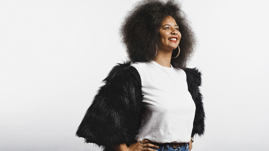 Happy woman in afro hairstyle