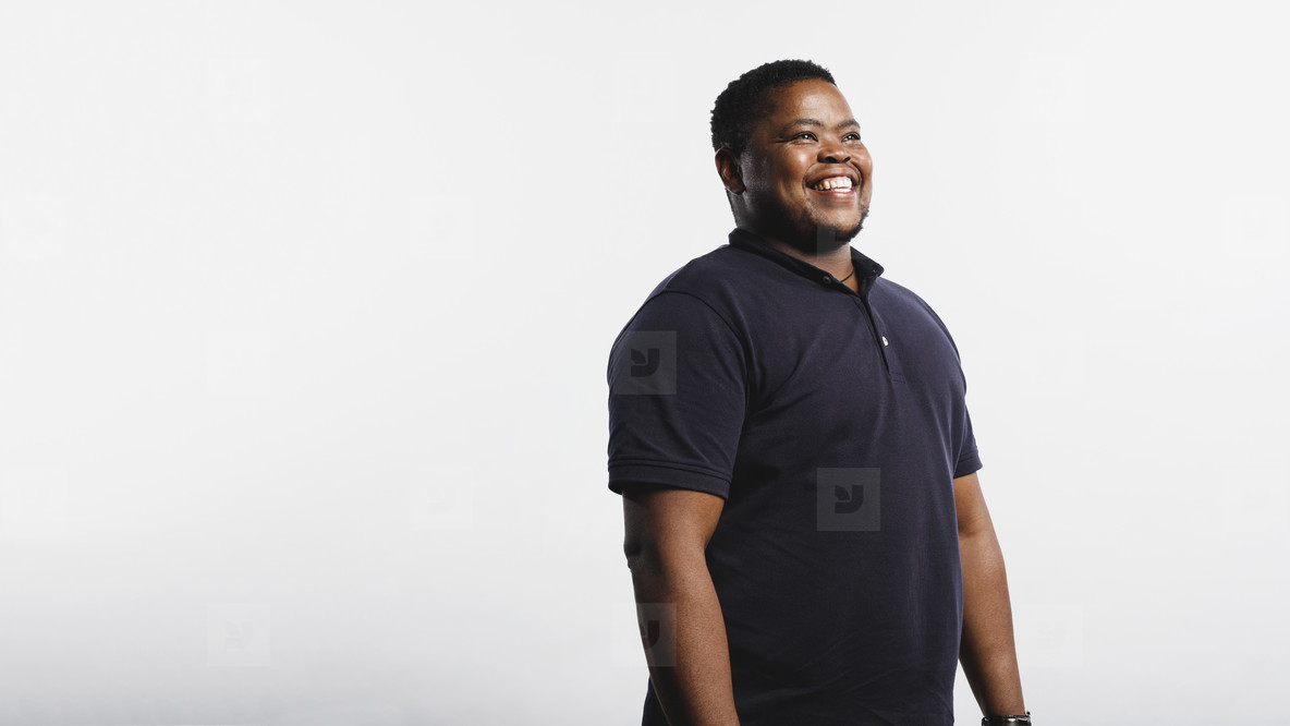 Portrait of cheerful african man