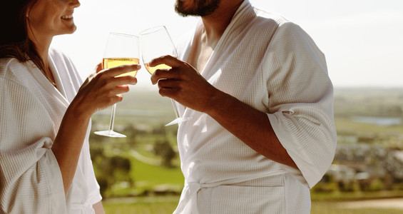 Couple toasting wine at home