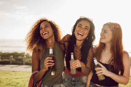 Cheerful girls having fun together