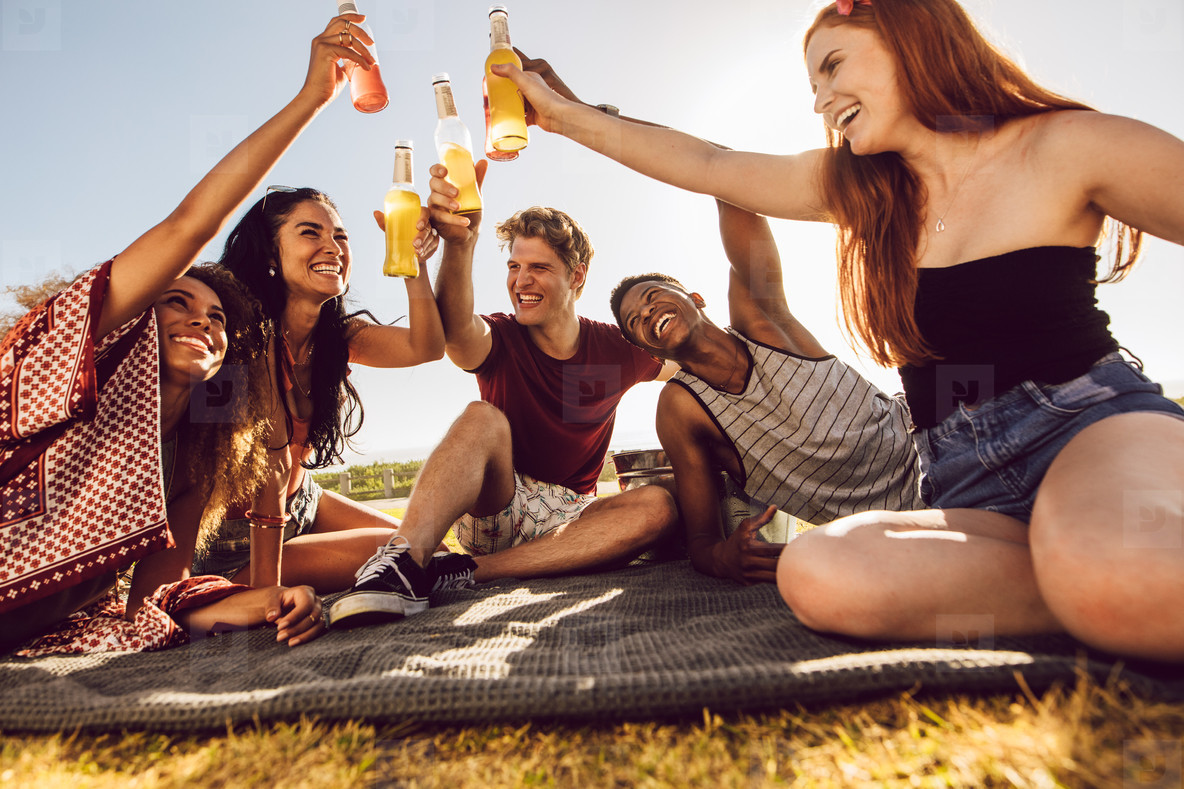 Friends having a party outdoors