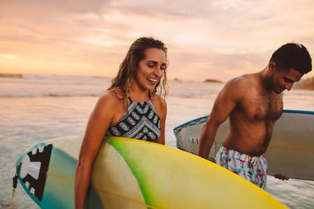 Couple enjoying water sports in the sea