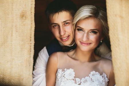 Beautiful wedding couple in doorway
