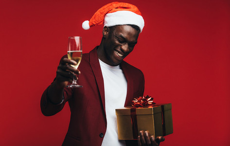 African man enjoying christmas eve