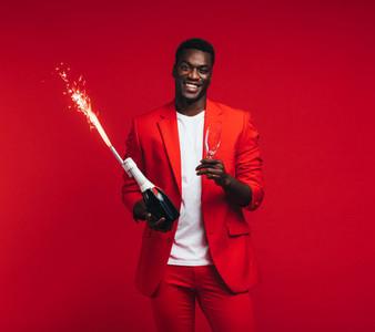 Stylish man celebrating new years eve