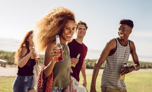 Woman hanging out with besties