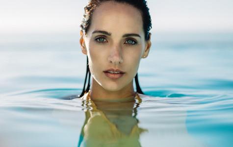 Beautiful woman in the water